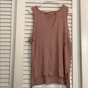 Pink American Eagle Stylish Ripped Tank Top
